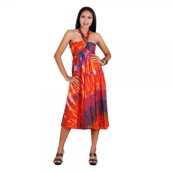 2 in 1 Hippie Kleid Orange