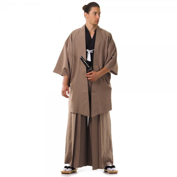 Japan Samurai Kimono Set Beige Schwarz