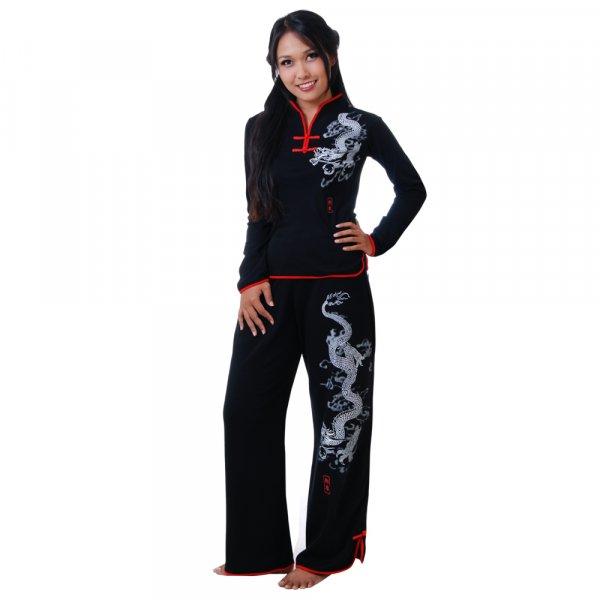 Asia Damen Hausanzug Schwarz