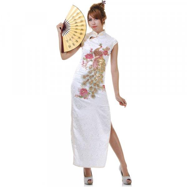 Langes chinesisches Qipao Pailletten Kleid
