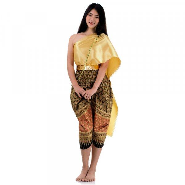 Traditionelles Thai Kostüm Schwarz Gold