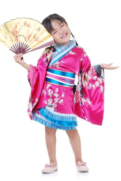 Mädchen Geisha Kimono Kostüm Pink