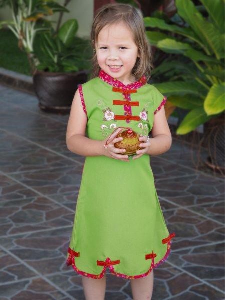 China Asia Kleid Kostüm Grün