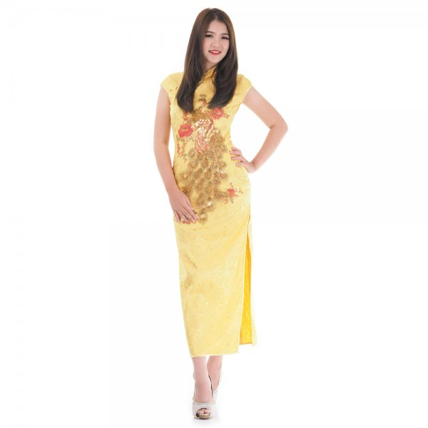 Langes China Qipao Asia Kleid Gelb   Princess of Asia   Mode ...
