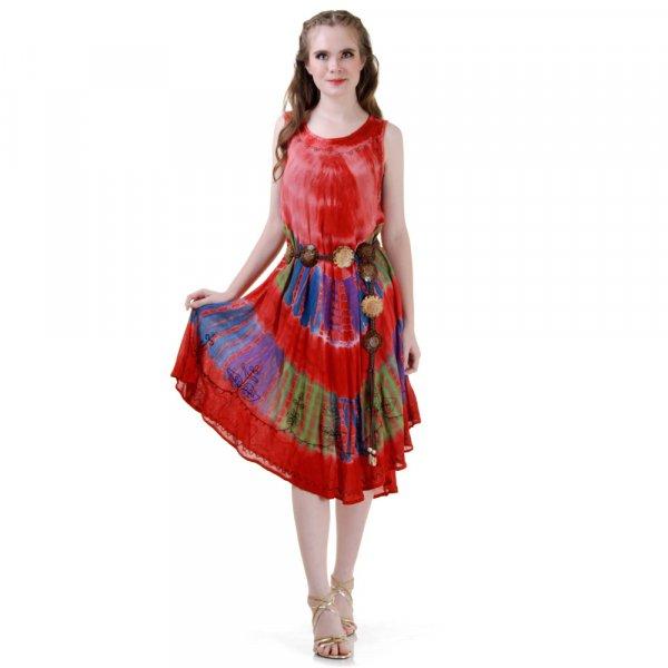 Hippie Batik Kleid Rot