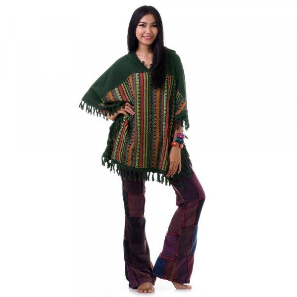 Grün Damen Hippie Poncho mit Aztekenmuster