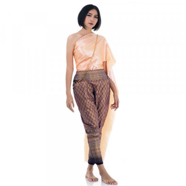 Traditionelles Thai Kostüm Lila Orange