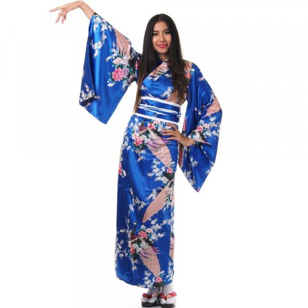 Damen Yukata Kimono Geisha Kostuem Kujaku Blau XK46-1.jpg