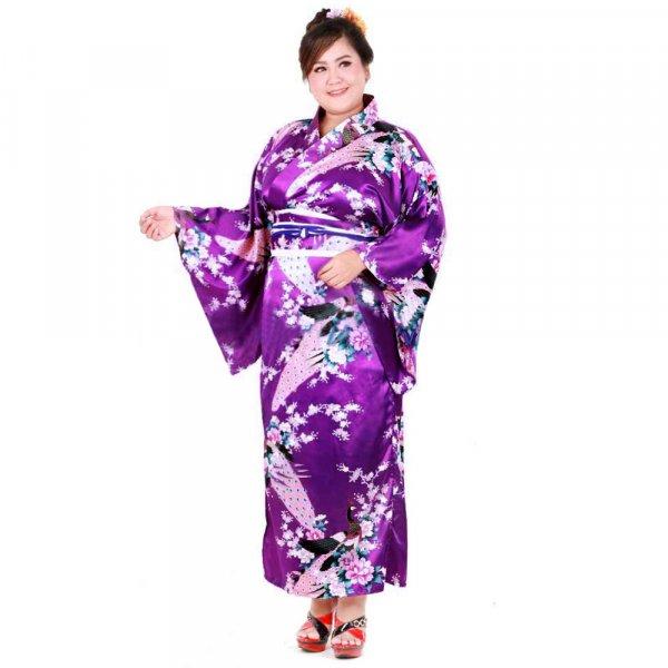 Plus Size Damen Yukata Kimono Geisha Kostuem Kujaku Lila XKPS053-1.jpg