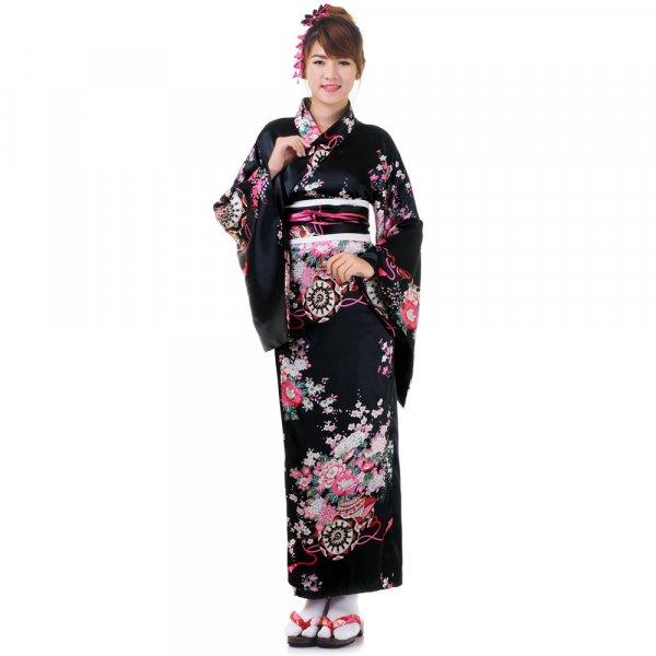 Damen Yukata Kimono Geisha Kostuem Sakura Schwarz XK25-1.jpg
