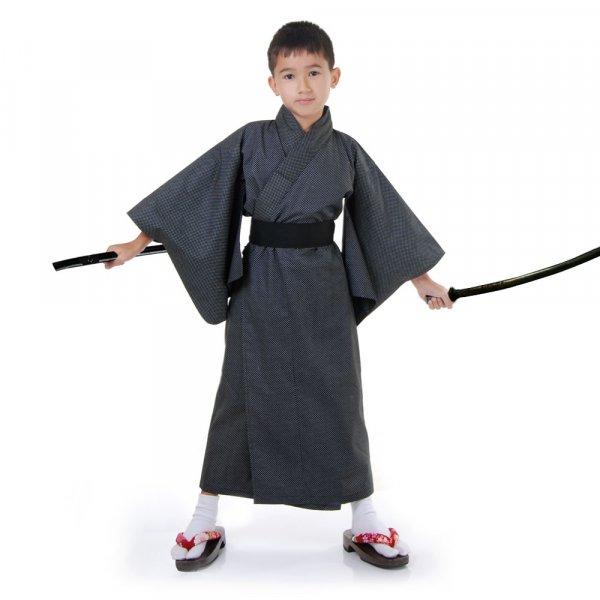 Jungen Japaner Kimono Kostüm Schwarz