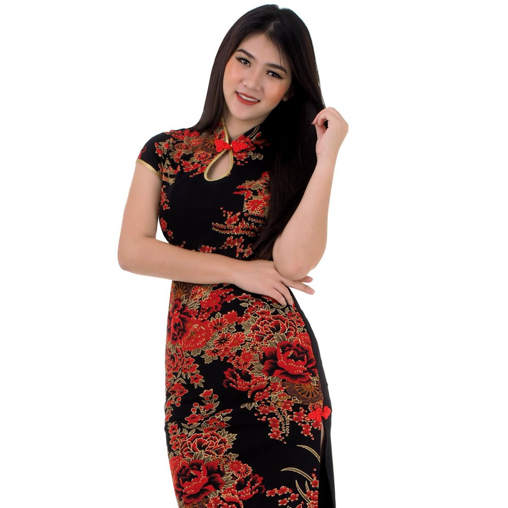 Langes Asia Qipao China Kleid Schwarz | Princess of Asia ...