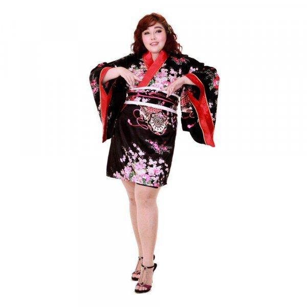 Japan Kimono Minikleid Schwarz