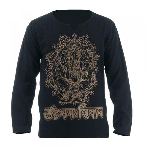 Hippie Mandala Ganesha Shirt Schwarz