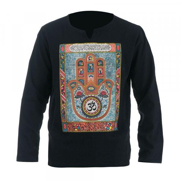 Hippie Mandala Hamsa Om Shirt Schwarz