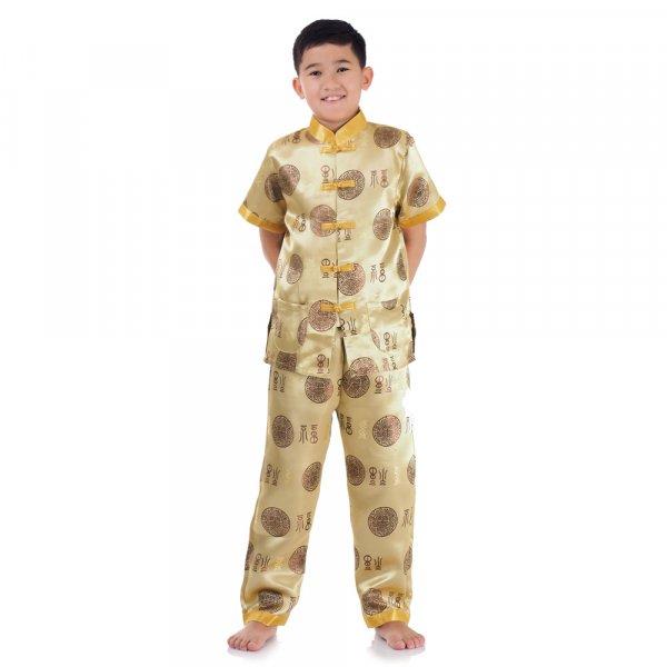 Kinder Pyjama im Asia Look Gold
