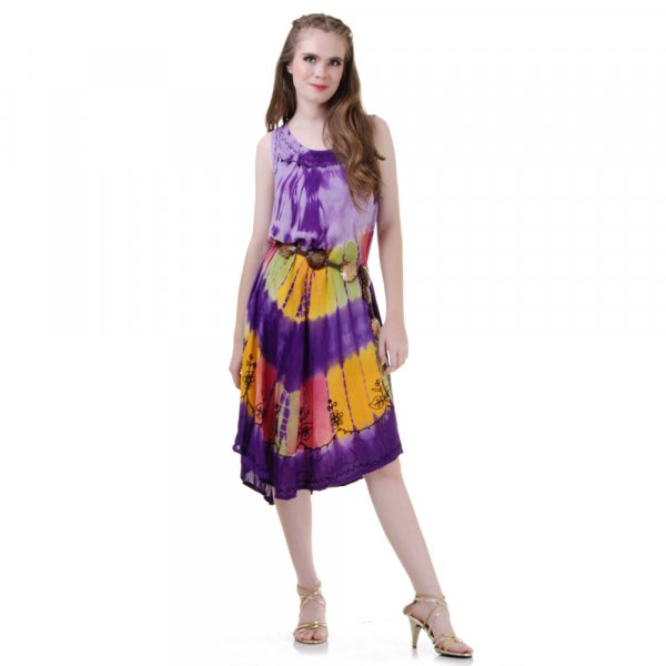 Hippie Batik Kleid Lila