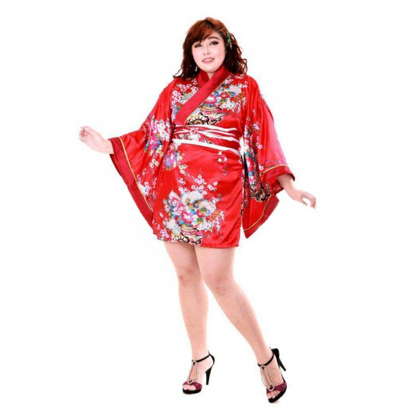 Japan Kimono Minikleid Rot