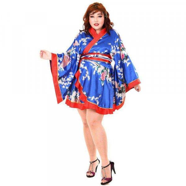 Japan Kimono Minikleid Blau