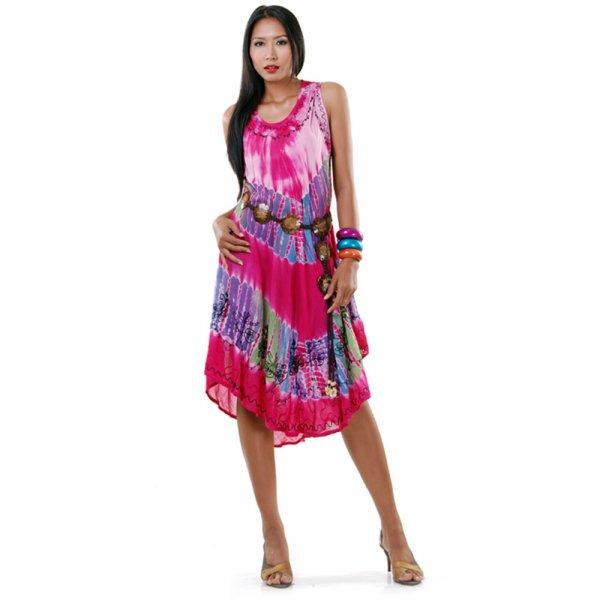 Hippie Batik Kleid Pink