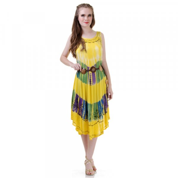 Hippie Batik Kleid Gelb