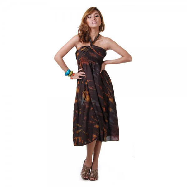 2 in 1 Hippie Kleid Braun