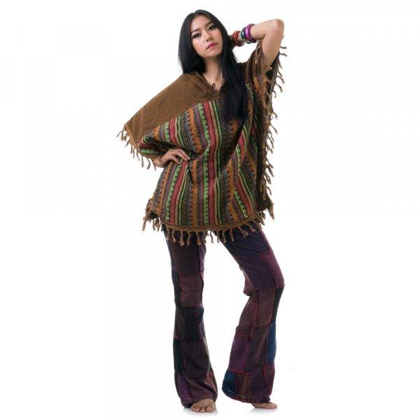 Braun Damen Hippie Poncho mit Aztekenmuster