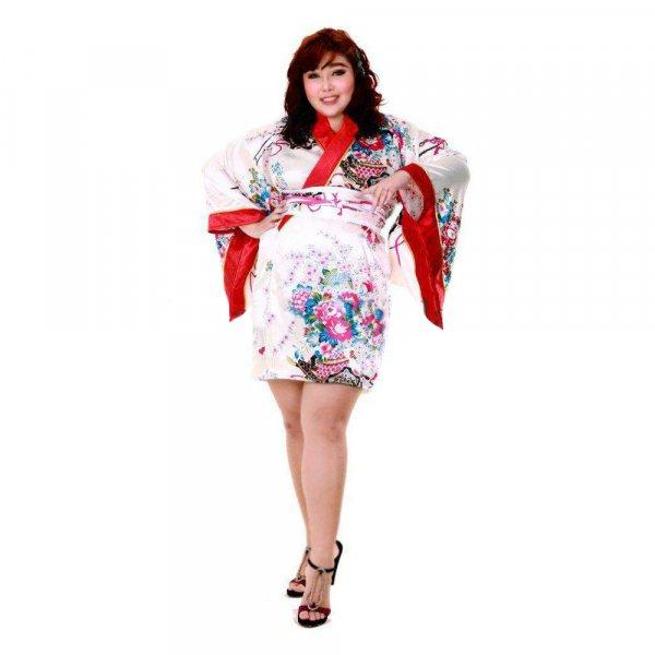 Japan Kimono Minikleid Weiß