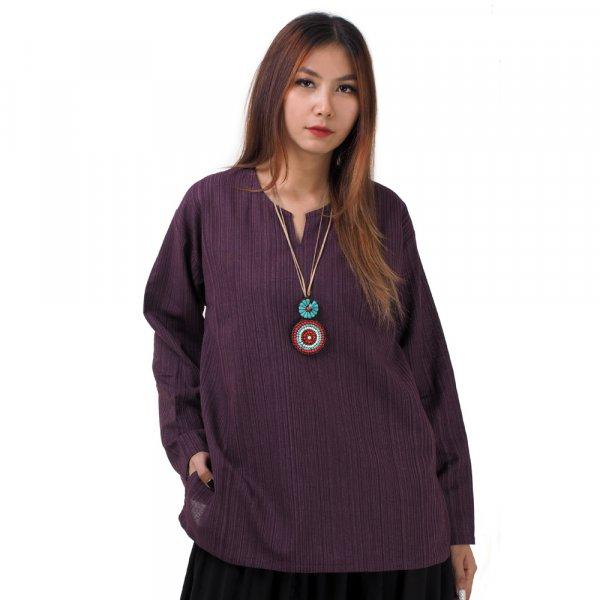 Thai Damen Fisherman Hemd mit Nadelstreifen