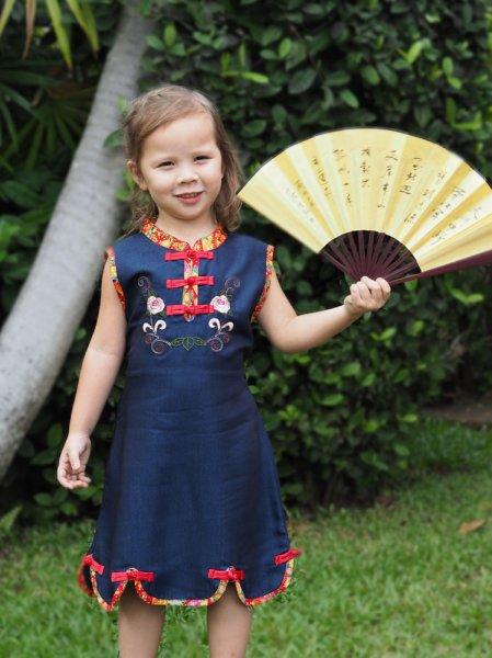 China Asia Kleid Kostüm Blau