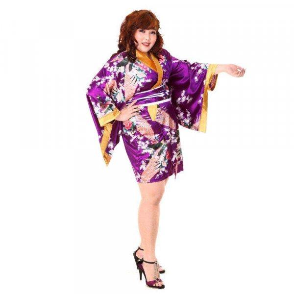 Japan Kimono Minikleid Lila