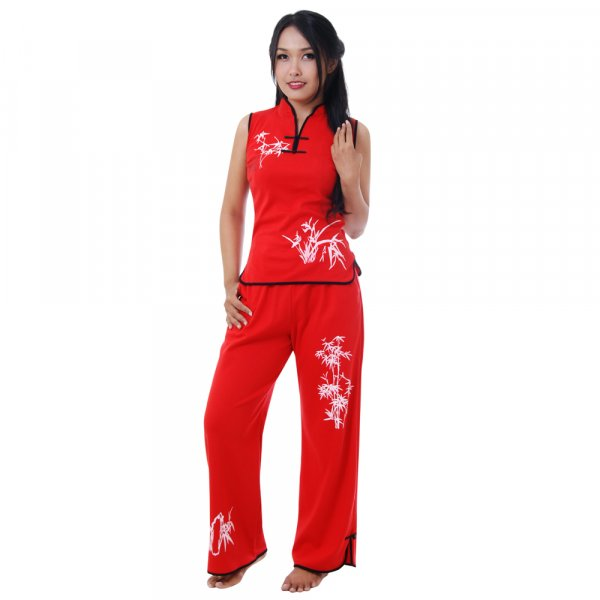Asia Damen Hausanzug Rot