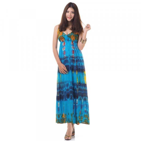 Hippie Maxi Kleid Blau