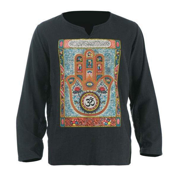 Hippie Mandala Hamsa Om Shirt Grau
