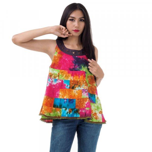 Hippie Patchwork Tunika Bluse