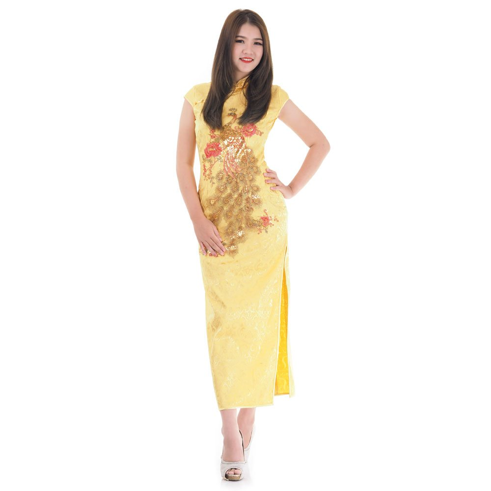 reputable site 859a6 9d878 Langes China Qipao Asia Kleid Gelb