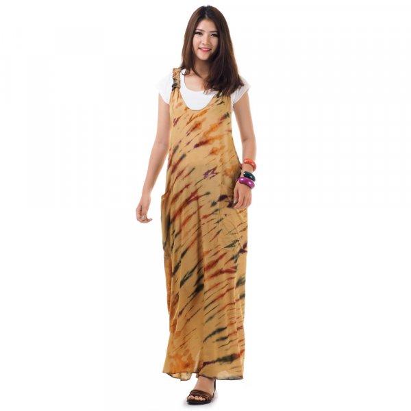 Langes Hippie Kleid Beige