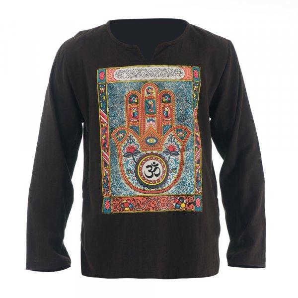 Hippie Mandala Hamsa Om Shirt Braun